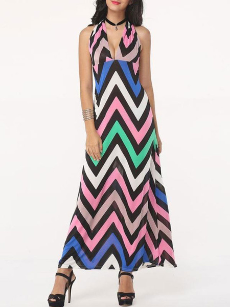 Sexy Maxi Dress Multicolor Striped Halter Plunging Neckline Sleeveless Backless Long Dress, Pink