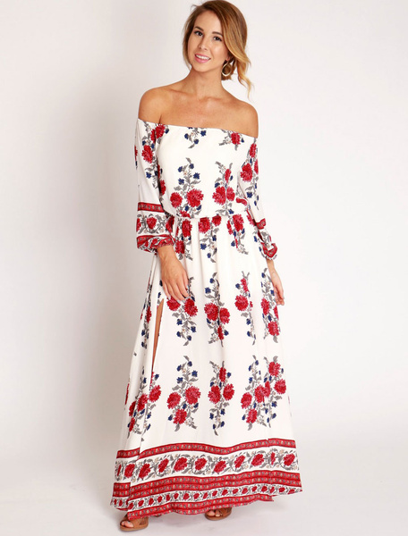 White Maxi Dress Chiffon Off The Shoulder 3/4 Length Sleeve Floral Printed Slit Long Dress