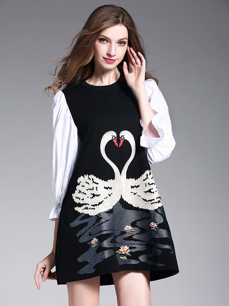 Black Shift Dress Round Neck 3/4 Length Poet Sleeve Swan Embroidered Short Dress фото