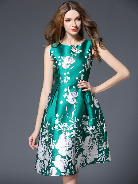 Green Skater Dress Round Neck Sleeveless Floral Printed Pleated Flare Dress Milanoo