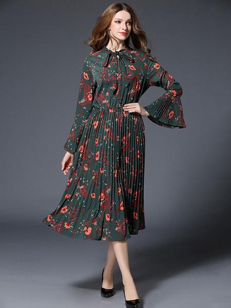 Patineur en mousseline de soie robe Green Floral imprimé collier orné manches longues plissé robe lo