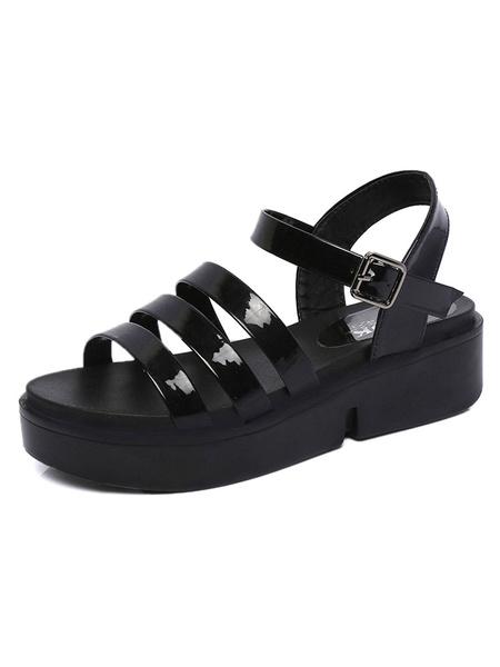 Black Flatform Sandals Women's Glazed PU Buckled Gladiator Sandal Shoes