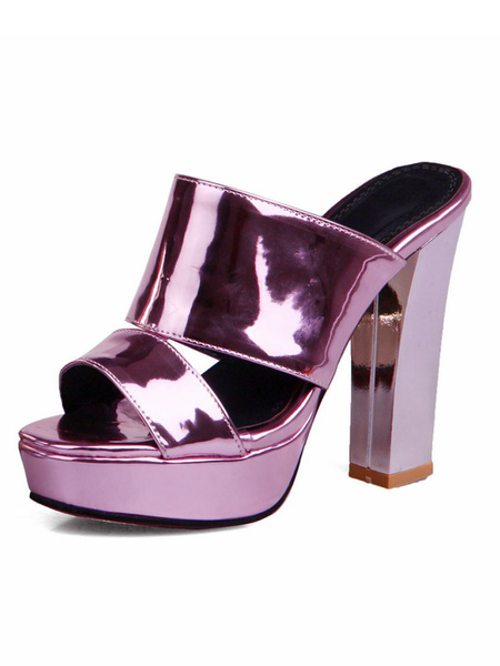 High Heel Slippers Women's Purple Peep Toe Cut Out Platform Chunky Heel Sandal Slippers