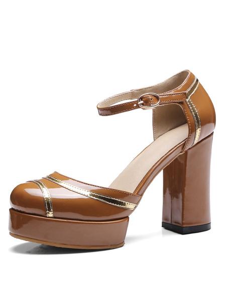 Vintage Platform Pumps Round Toe Chunky Heel Patent PU Ankle Strap High Heel Shoes фото
