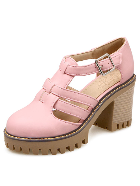 Pink High Heels Chunky Heel Round Toe Cut Out Breathable Women's Shoes фото