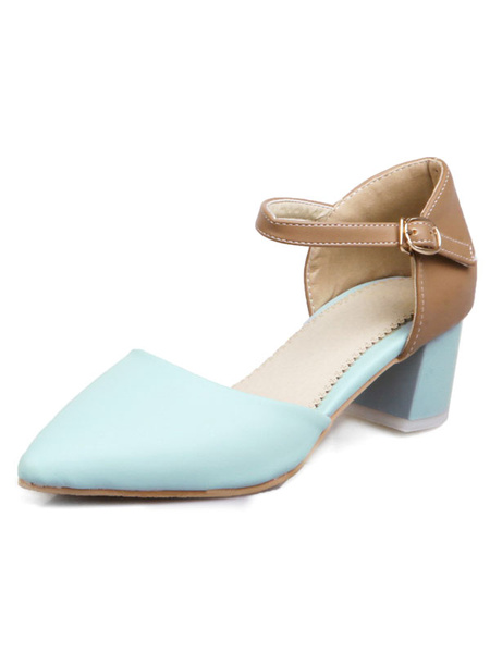 Women's Blue Pumps Pointed Toe Two Tone Ankle Strap Chunky Heel Shoes