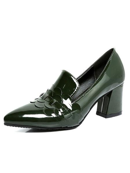 Hunter Green Pumps Women's Pointed Toe Petal Detail Slip On Chunky Heel Shoes фото