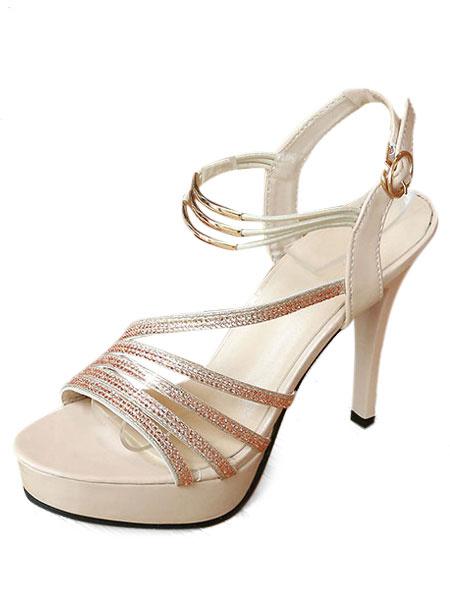 Sandalias de puntera abierta brillantes estilo street wear de tacón de stiletto estilo moderno Sanda