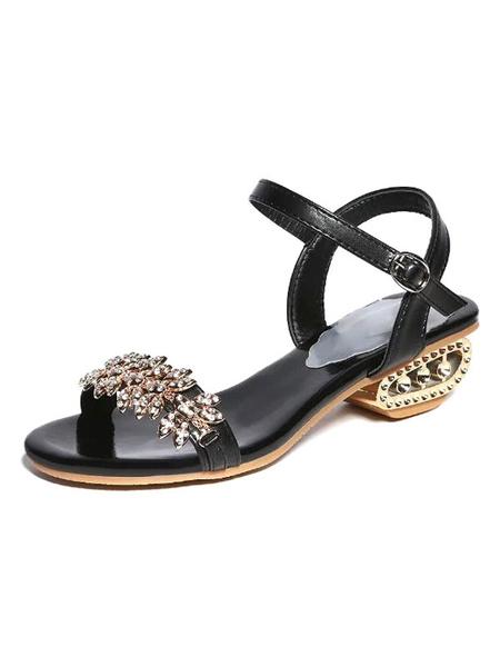 Schwarze Sandalen Chunky Heel Strass Perlen zwei Teil Sandale Schuhe für Frauen