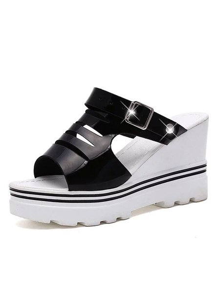 Black Wedge Sandals Platform Open Toe Cut Out Backless Wedges For Women фото