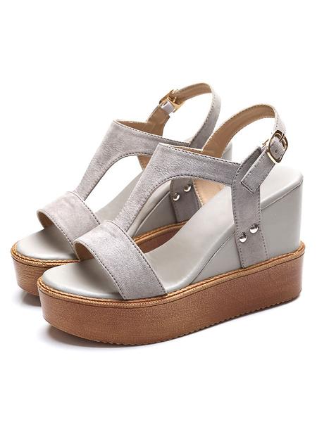 Grey Wedge Shoes Platform Women's Open Toe T-Type Slingbacks Wedges фото