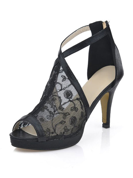 Sandalias de punter Peep Toe metálicas estilo street wear de tacón de stiletto estilo moderno Sandal