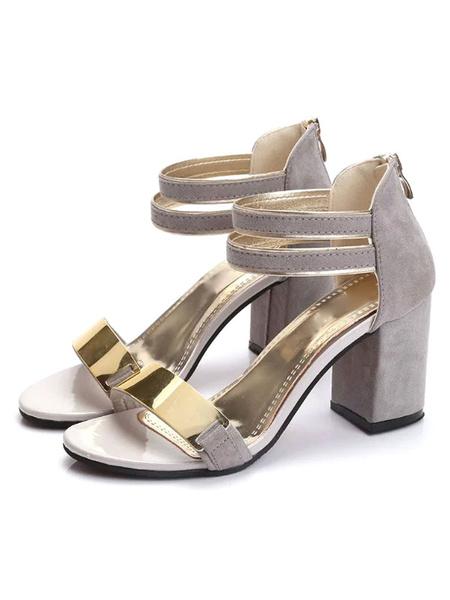 Grey Dress Sandals Chunky Heel Women's Metal Detail Block Heel Sandals With Ankle Strap