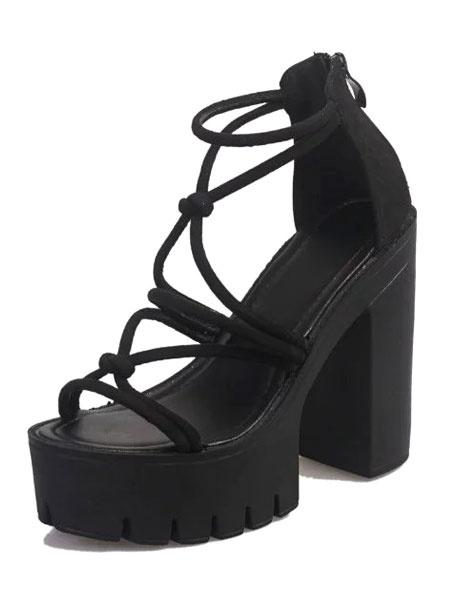 Schwarze Plattform Sandalen High Heel Riemchen Chunky Heel Sandale Damenschuhe