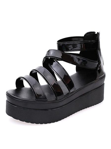 Black Flatform Sandals Women's PU Strappy Zip Up Sandal Shoes