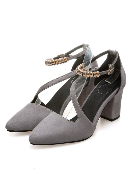 Grey Suede Pumps Women's Pointed Toe Ankle Strap Metal Details Cut Out Chunky Heel Shoes