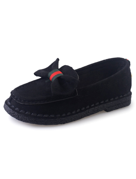 Black Flat Shoes Suede Women's Round Toe Slip On Pumps With Bow фото