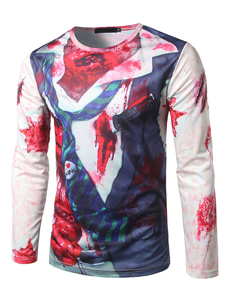 Ecru White T Shirt Men's Round Neck Long Sleeve Fake Two Piece Zombie Printed Casual Top фото