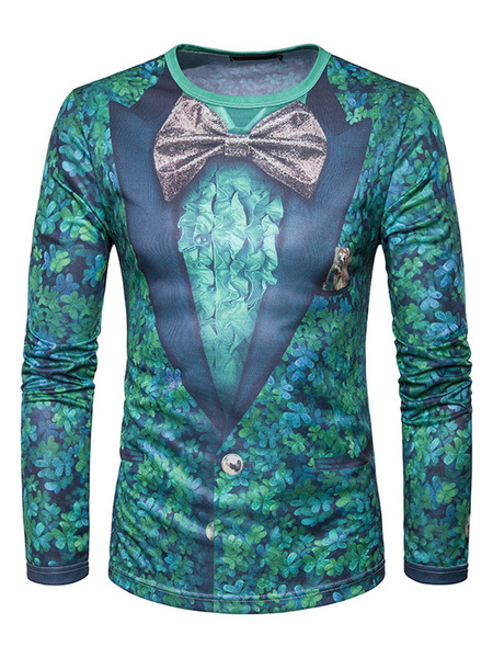 Men's Green T Shirt Fake 2 Piece Round Neck Long Sleeve Leaf And Bow Printed Casual Top