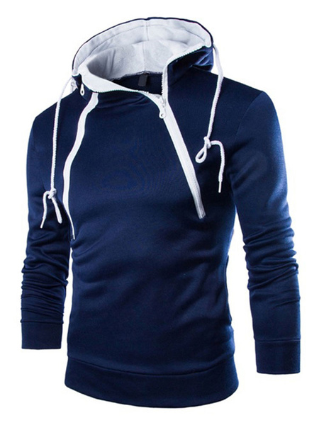 Men's Hooded Top Fleece Dark Navy Long Sleeve Zippers Decor Drawstring Pullover Sweatshirt