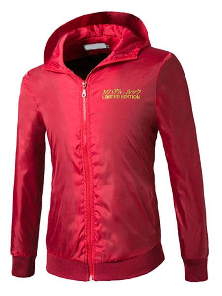 Red Windbreaker Jacket Men's Hooded Long Sleeve Zip Up Lightweight Jacket фото