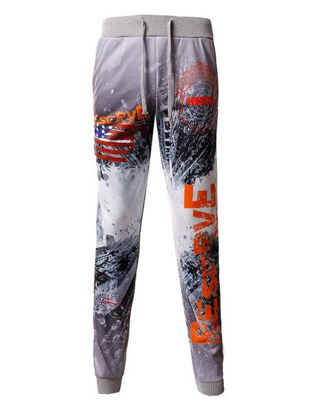 Grey Jogger Pants Men's Drawstring 3D Apocalyptic Ruins Printed Straight Leg Athletic Pants фото