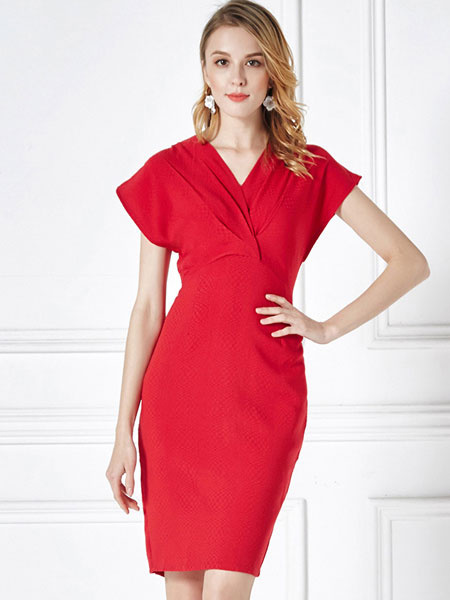 Red Bodycon Dress V Neck Short Sleeve Pleated Slim Fit Sheath Dress For Women