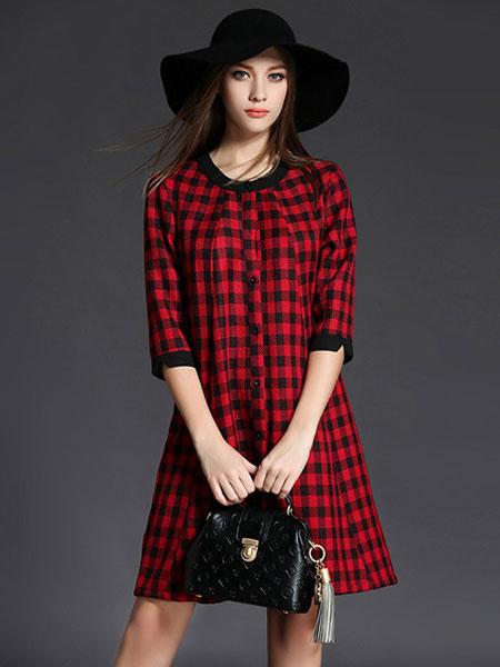 Red Shift Dress Women's Round Neck 3/4 Length Sleeve Plaid Buttons Decor Linen Summer Dress фото