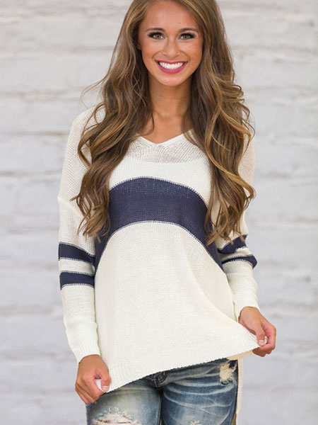 Women's Pullover Sweater Two Tone V Neck Long Sleeve Slit High Low Knit Sweater фото