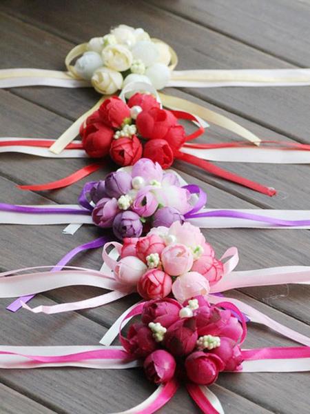 Image of fiori da polso Fiori per il matrimonio ballo bianco roseo rosa Mazzolino di Fiori fiori di seta