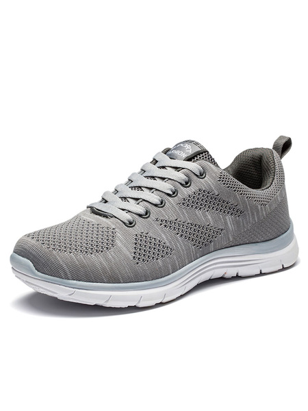 Light Grey Sneakers Mesh Woven Round Toe Lace Up Running Shoes For Men фото