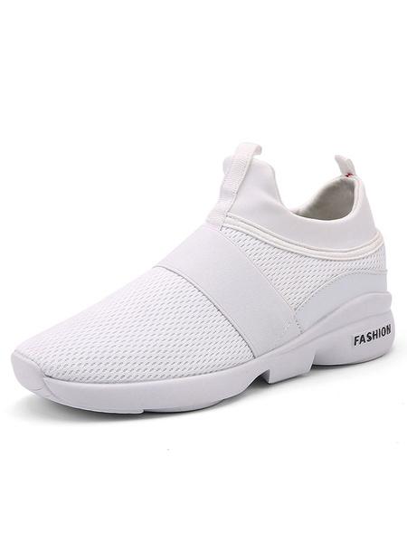 Белые мужские кроссовки сетки круглый носок спортивная обувь