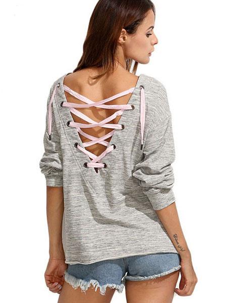Milanoo / Camiseta de algodón gris T redondo cuello costilla largo manguito punto espalda T correa encaje Top