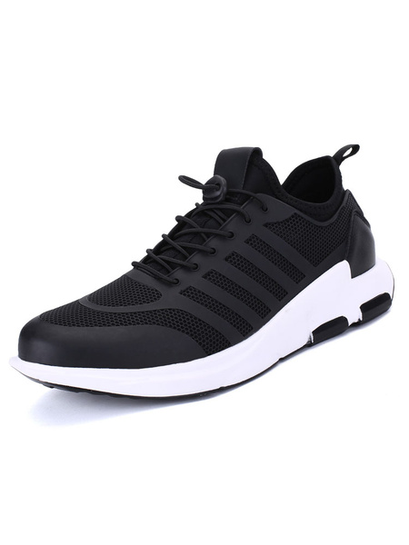 Men's Black Sneakers Mesh Round Toe Strappy Running Shoes фото