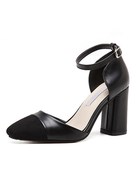 Apricot D'orsay Shoes Women's Square Cape Toe Ankle Strap Chunky Heel Pumps