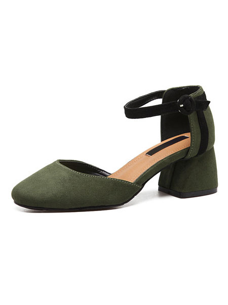 Suede D'orsay Shoes Women's Green Square Toe Ankle Strap Chunky Heel Pump Shoes
