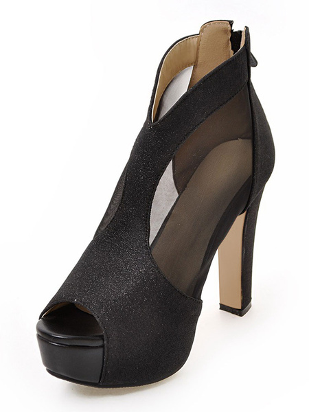 Black Platform Sandals High Heel Peep Toe Metallic Semi-Sheer Chunky Heel Sandal Shoes Milanoo
