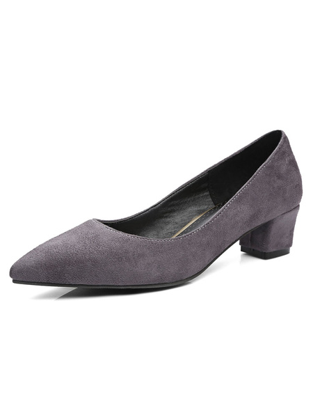 Pointed Toe Heels Low Chunky Heel Women's Grey Slip On Pump Shoes фото