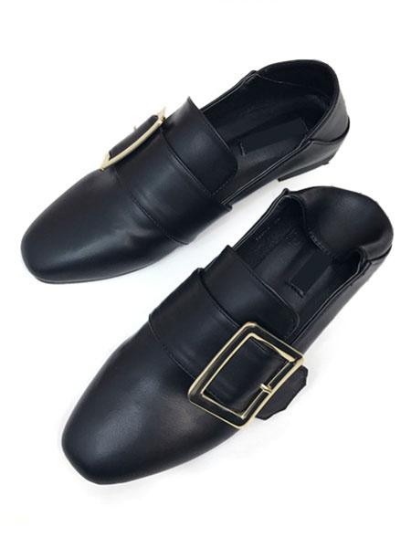 Black Loafer Shoes Women's Square Toe PU Buckle Decor Flat Pump Shoes
