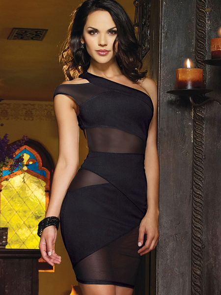 Sexy Club Dress Black Semi Sheer One Shoulder Women's Cut Out Bodycon Mini Dress