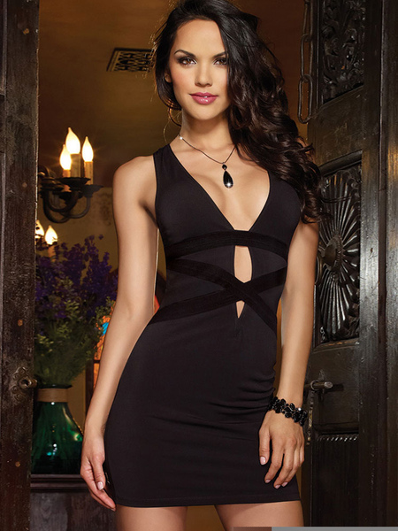 Black Club Dress Sexy Bodycon Women's V Neck Cut Out Lace Illusion Mini Clubwear