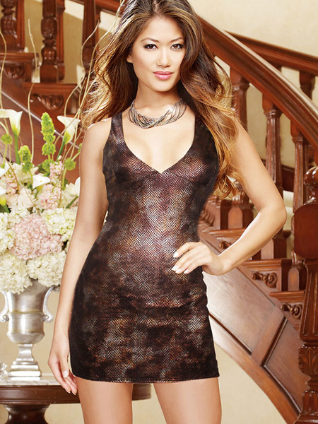 Sexy Club Dress Black V Neck Sleeveless Women's Cut Out Mini Clubwear