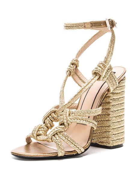 High Heel Sandaletten aus echtem Leder Frauen Hellgold gewebt Chunky Heel Strap Sandale Schuhe
