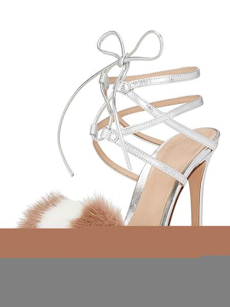 Sandalias de tacón de stiletto para fiesta Sandalias de puntera abierta Artísticas estilo moderno pa