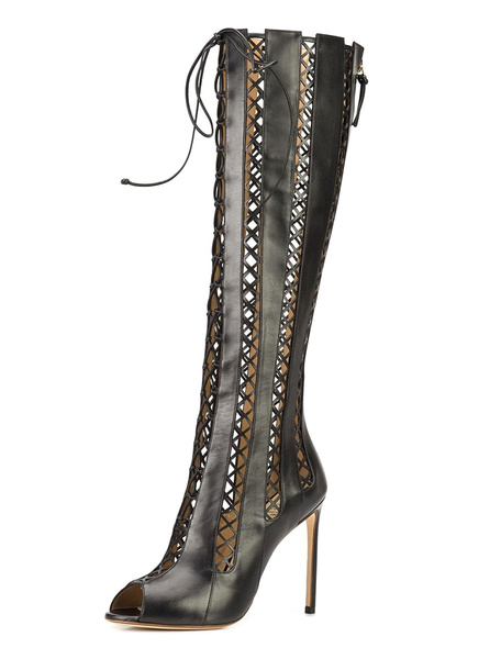 Over The Knee Boots Leather Black Peep Toe Cut Out Lace Up Stiletto High Heel Tight High Boots фото