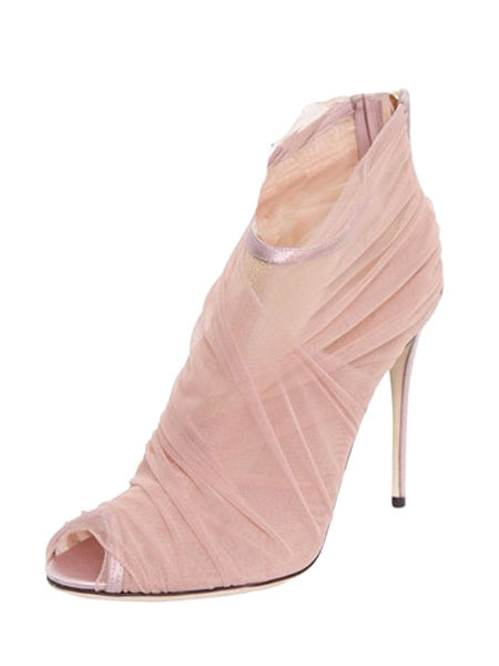 High Heel Sandals Salmon Peep Toe Pleated Stiletto Heel Sandal Booties For Women