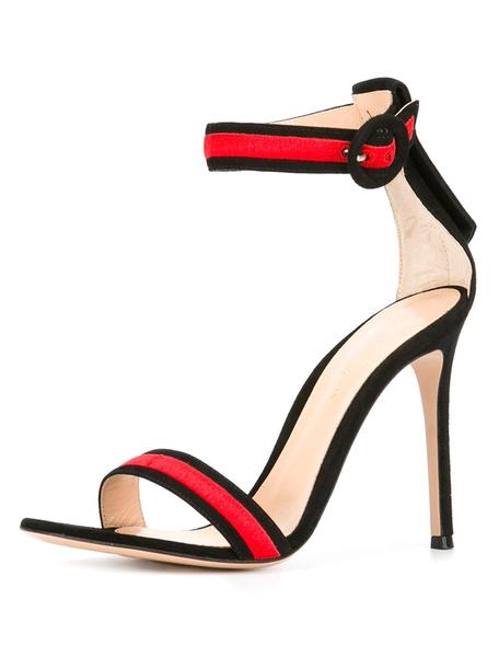 High Heel Sandalen echt Leder Damen zwei Ton Ankle Strap Block Heel Sandalen
