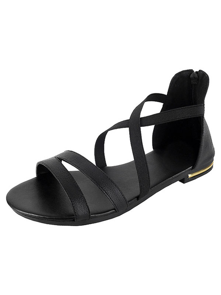 Champagne Flat Sandals Women's Round Toe Zip Up Strappy Sandal Shoes фото