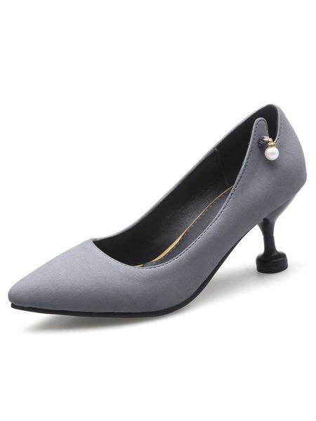 Mid Low Heels Women's Grey Pointed Toe Kitten Heel Pearls Decor Detailed Design Pumps фото