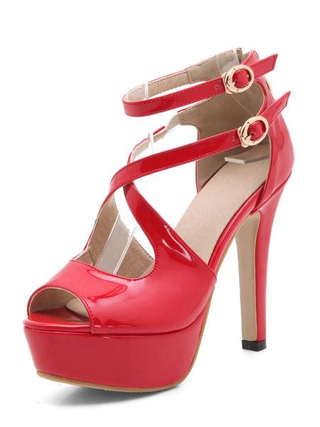 Chaussures exquises à bout ouvert à talons aigus en PU verni